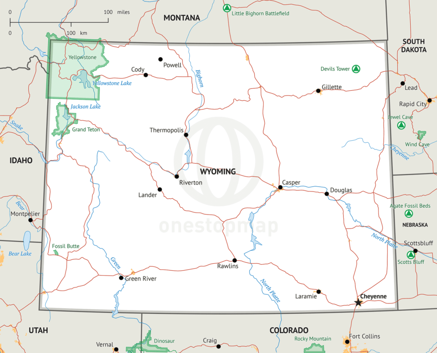Stock vector map of Wyoming
