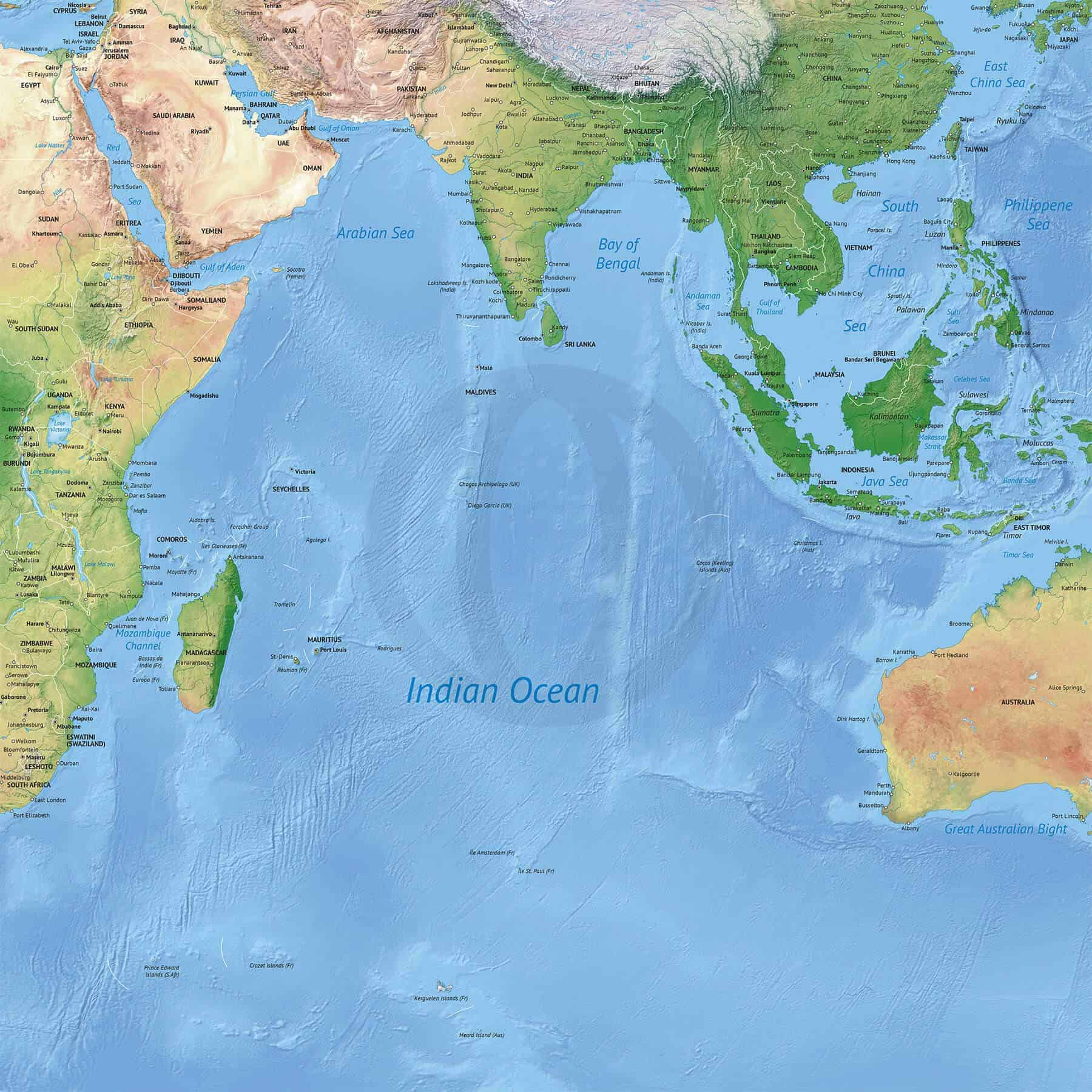 Stock map of Indian Ocean