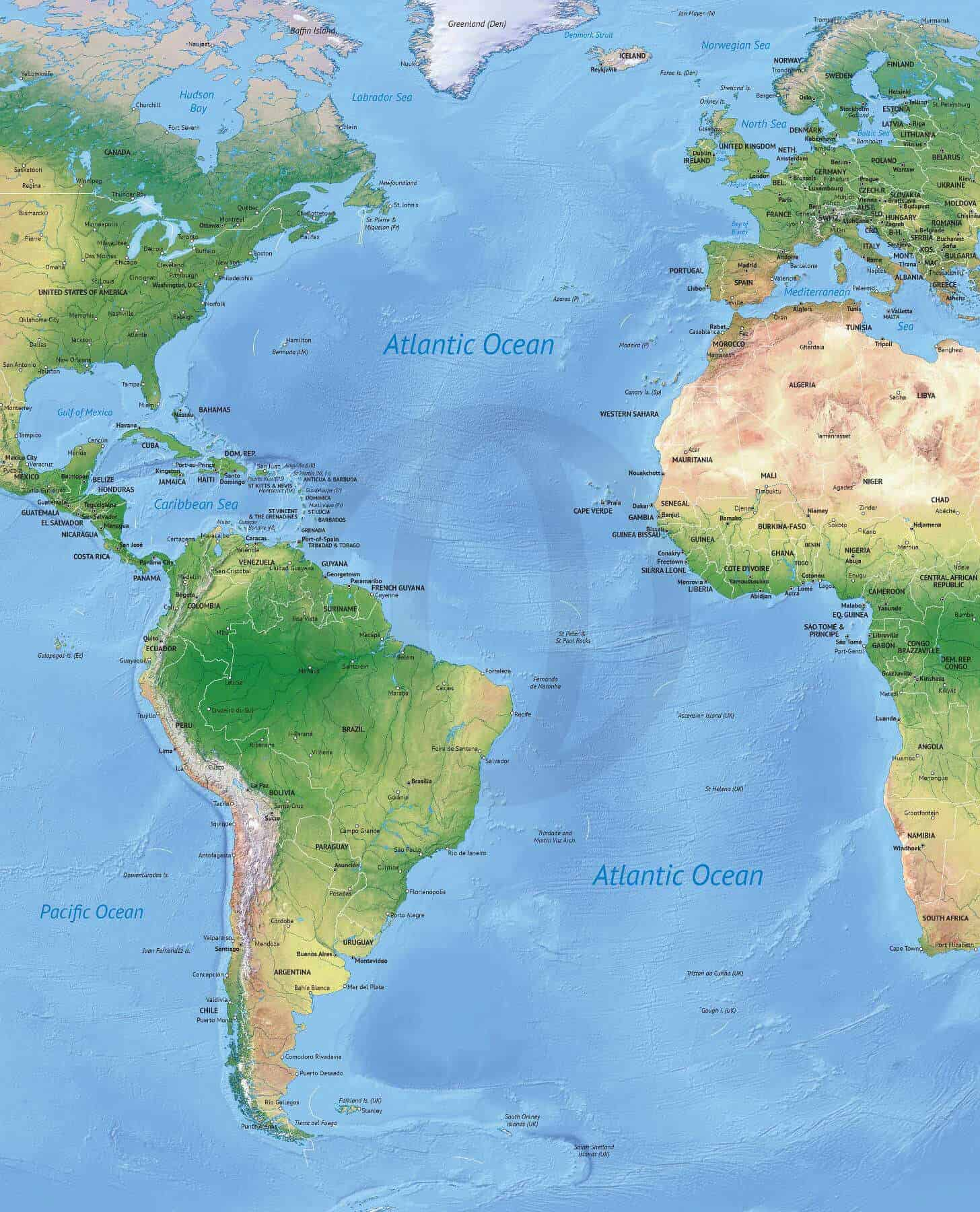 Map Of The Atlantic Ocean Vector Map of the Atlantic Ocean political with shaded relief