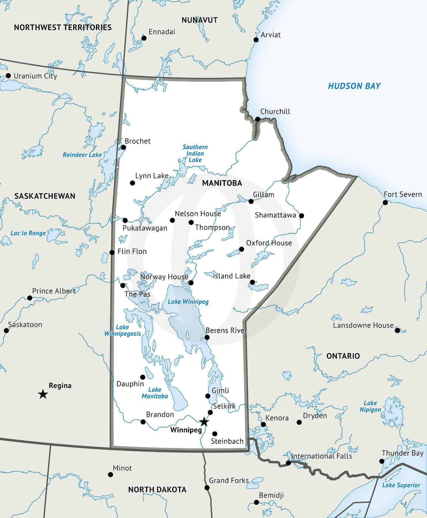 Outline Map Of Canada With Provinces And Capitals.Map Of Manitoba Defined