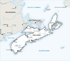 Stock vector map of Nova Scotia