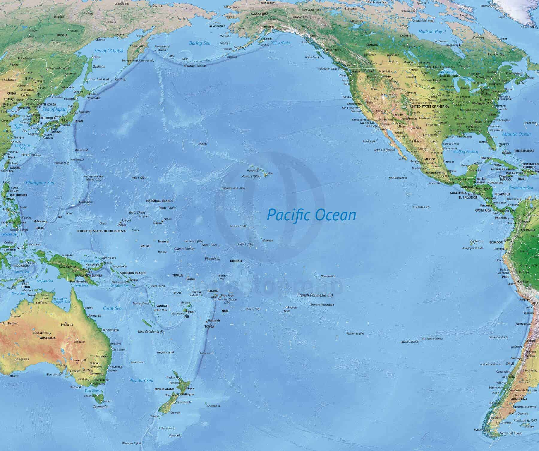 Map Of Pacific Vector Map of the Pacific Ocean political with shaded relief | One