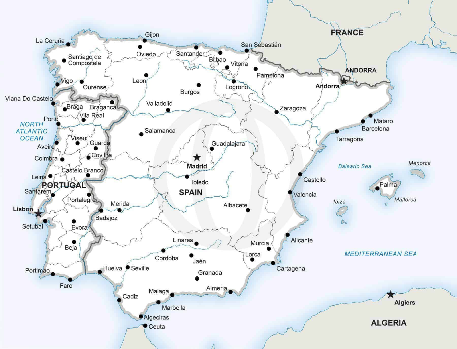 Vector Map Of The Iberian Peninsula Political One Stop Map