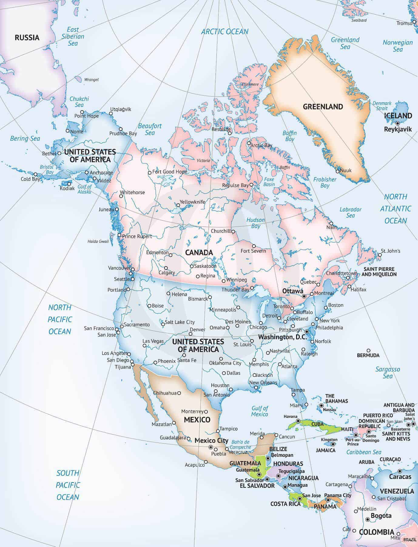 photograph about North America Map Printable named Map of North The us continent Official structure