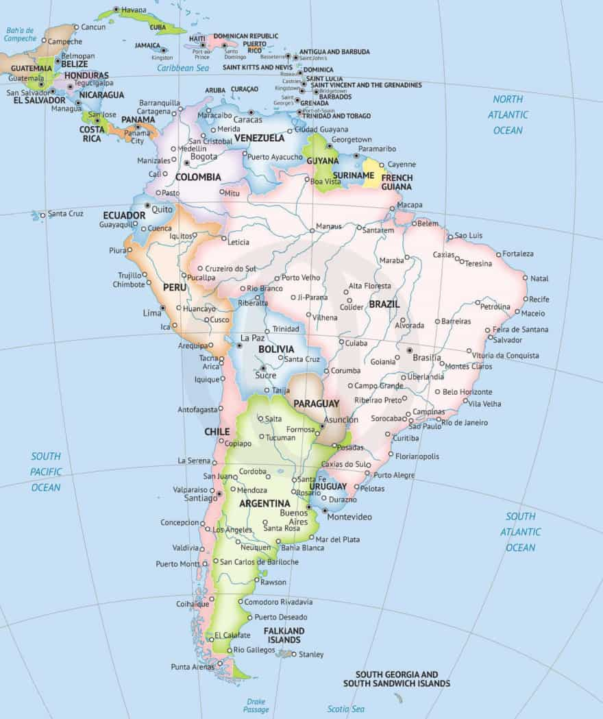 graphic relating to Printable Maps of South America referred to as Map of South The usa continent Official layout