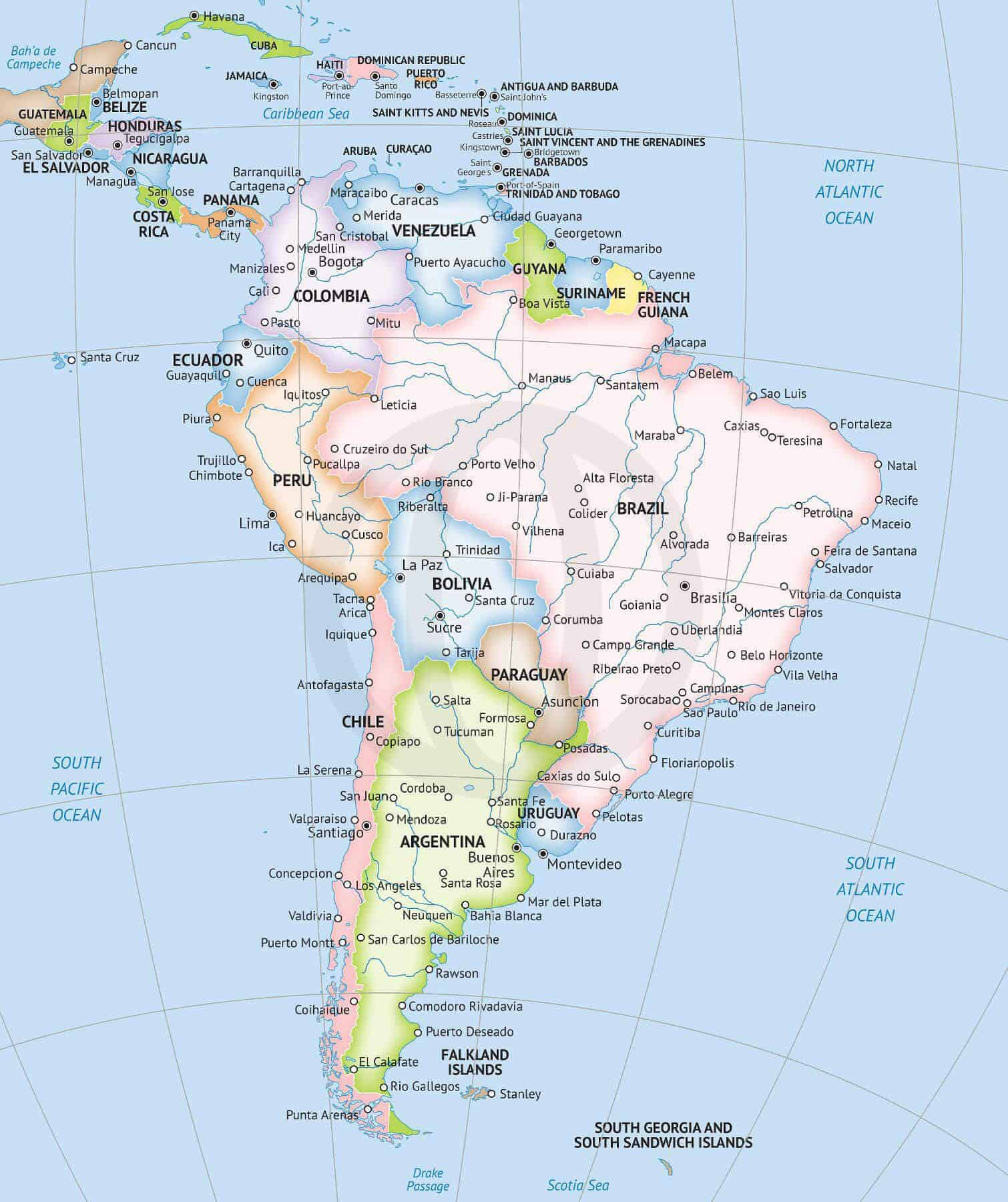 American Continent Map Vector Map South America Continent Political | One Stop Map