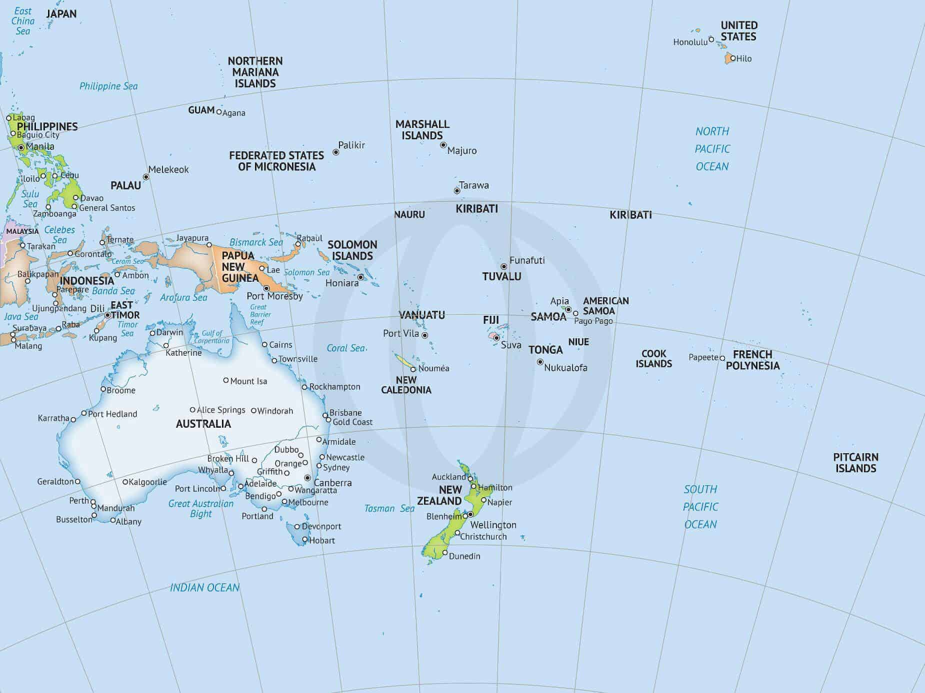 Major Cities In Australia Map.Map Of Oceania In Formal Style
