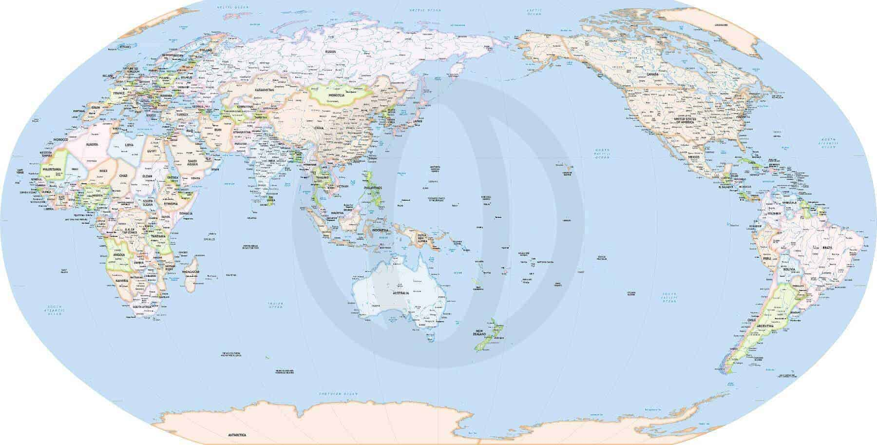 Detailed World Map Robinson Australia and Asia | One Stop Map
