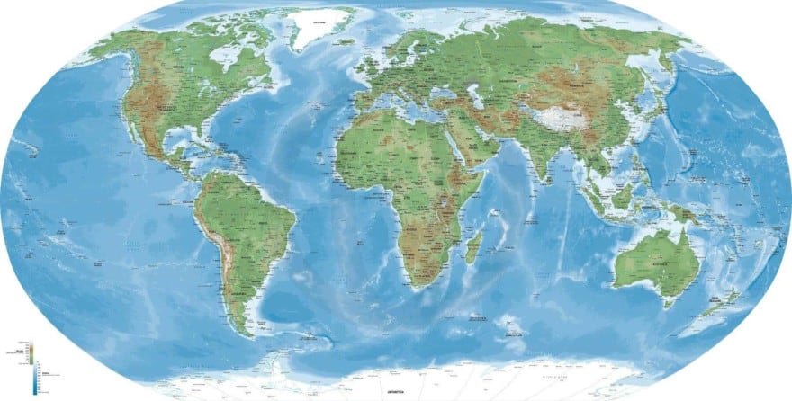 Europe-centered World Map in Naturalist style