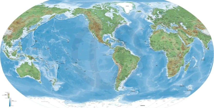 America-centered World Map in Naturalist style