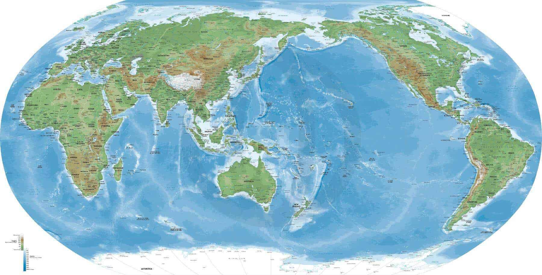 Detailed World Map Robinson Asia-Australia centered | One Stop Map
