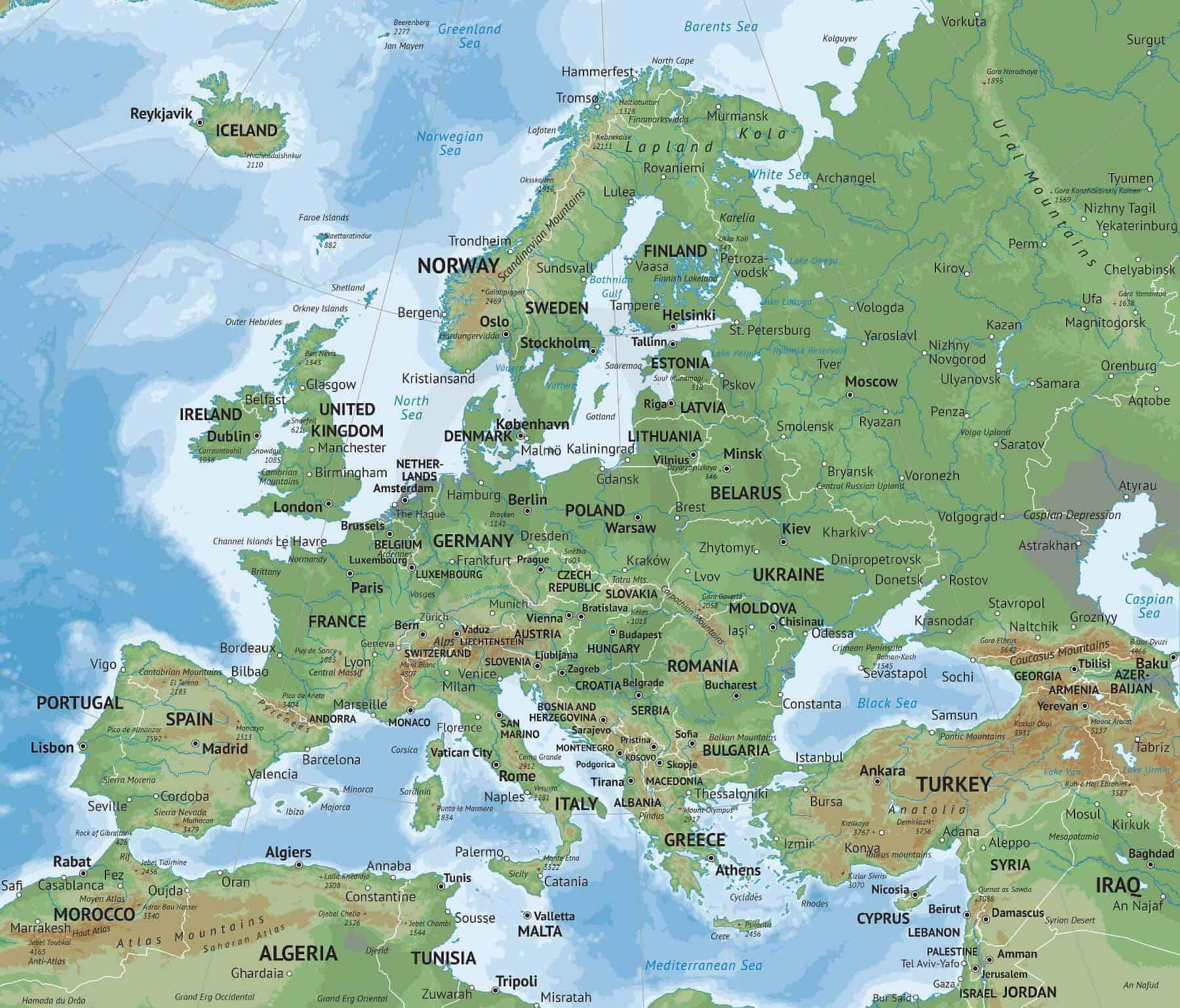Map of Europe Naturalist style