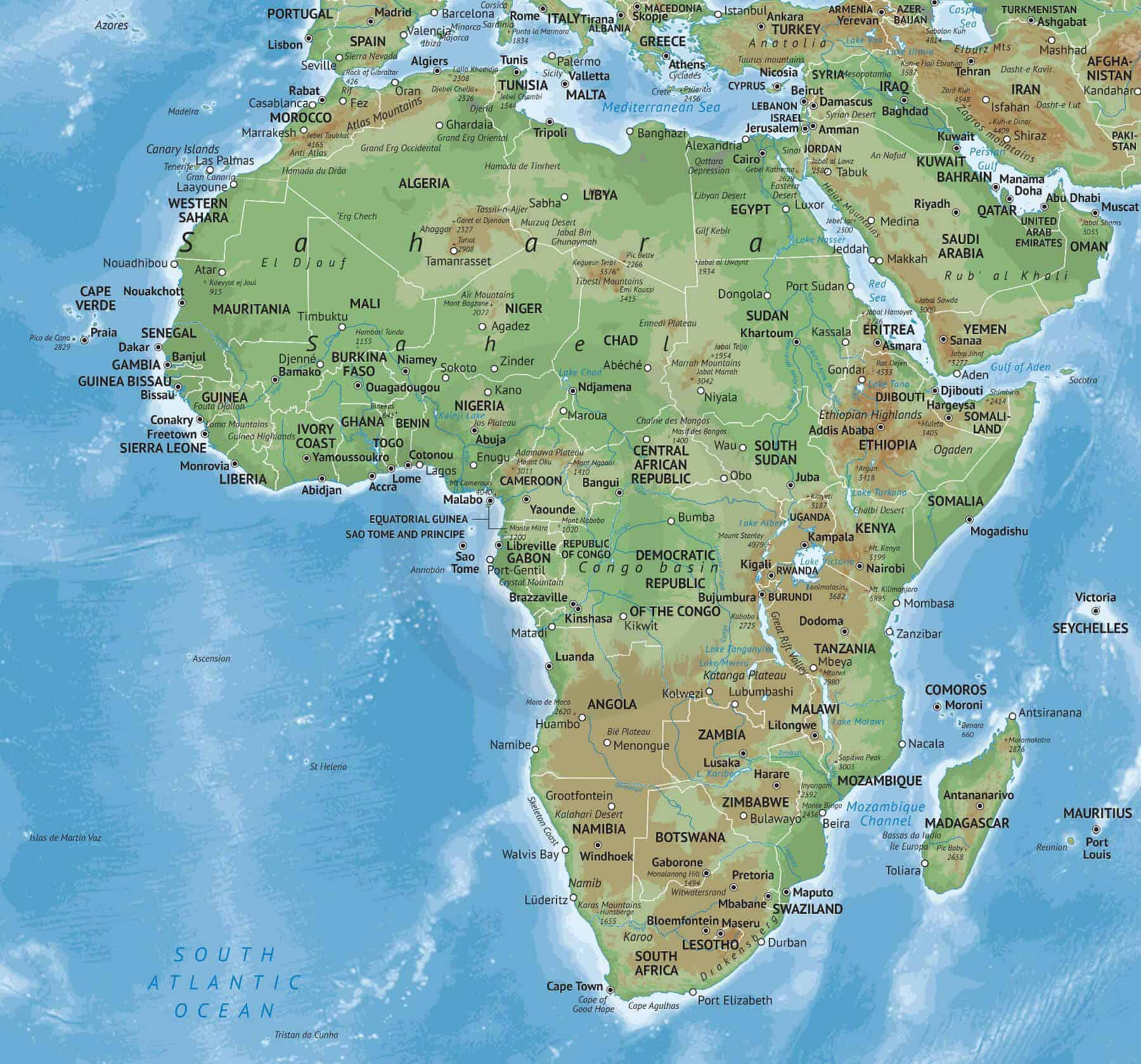 Africa Physical Maps.Map Of Africa Physical