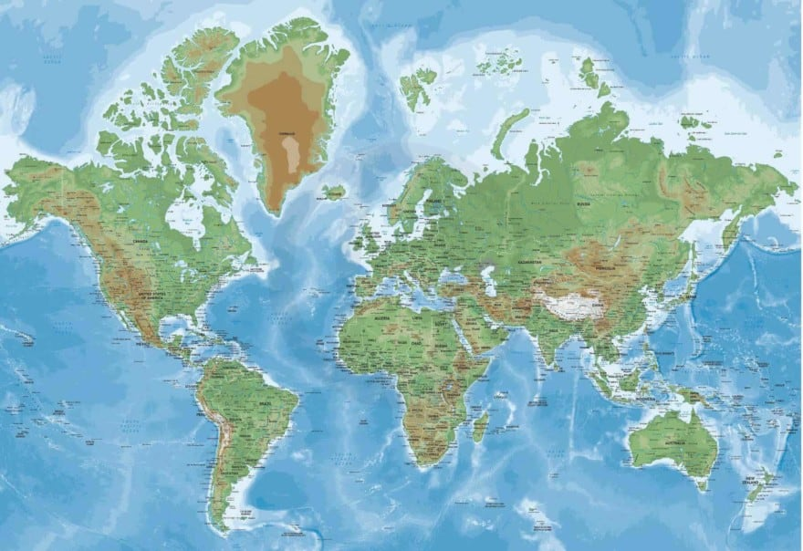 Naturalist map of the World Mercator Europe-Africa centered