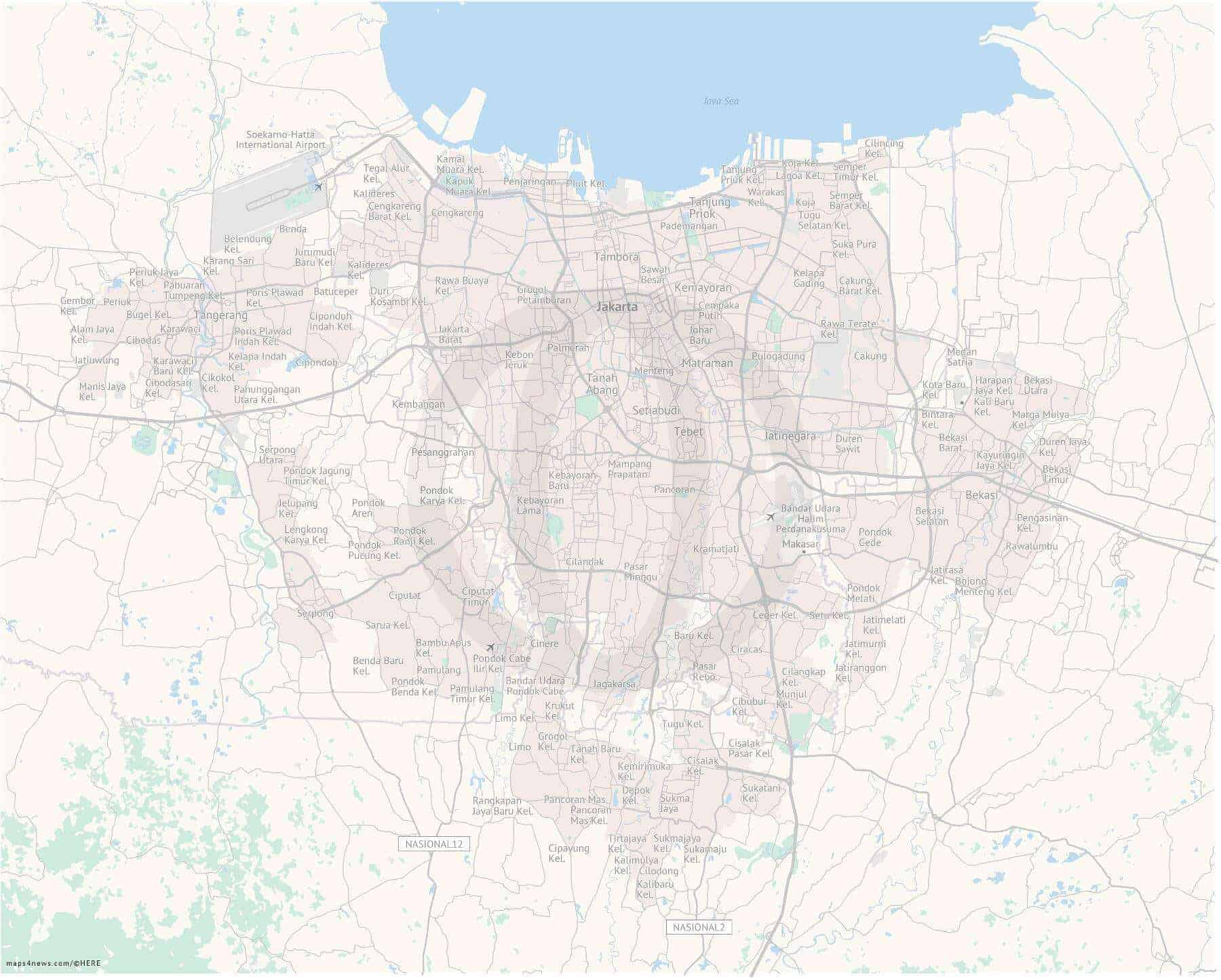 Detailed Map Of Jakarta One Stop Map