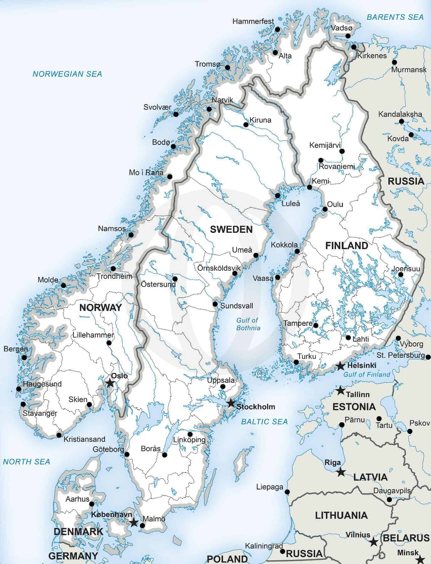 Image of: Vector Map Of Scandinavia Political One Stop Map